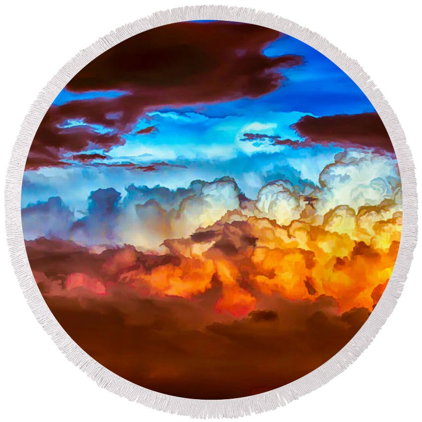 Clouds Round Beach Towel featuring the painting Both Sides by John Haldane