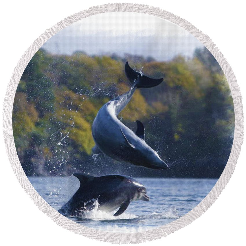 Bottlenose Dolphin Round Beach Towel featuring the digital art Bottleneck Dolphin Playing by Don Kuing