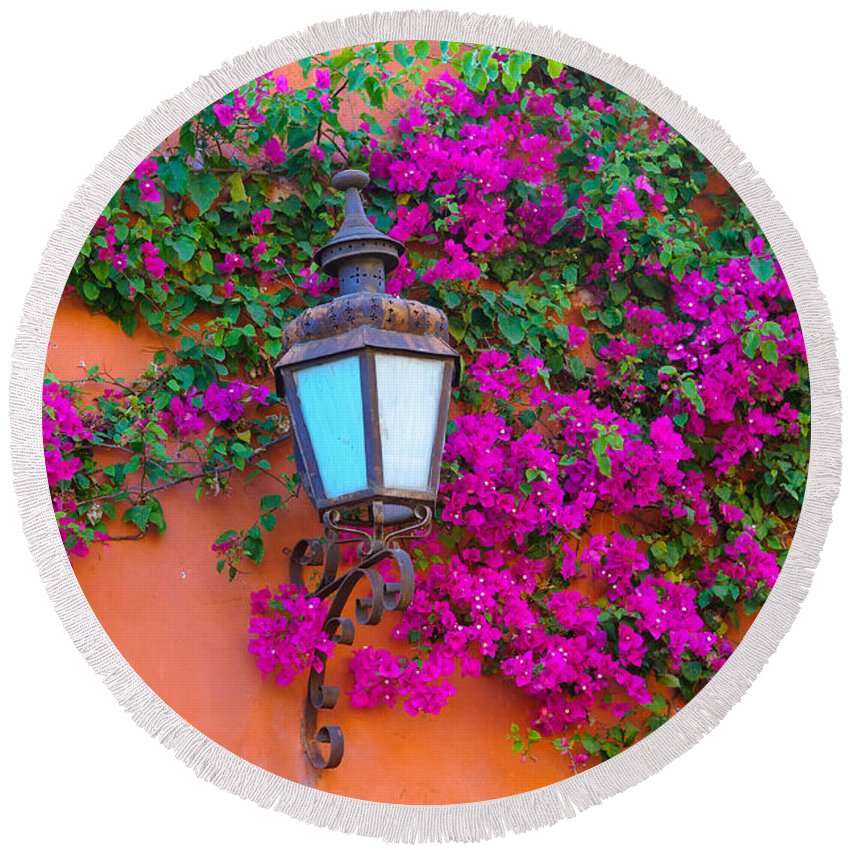 Travel Round Beach Towel featuring the photograph Bougainvillea And Lamp, Mexico by John Shaw