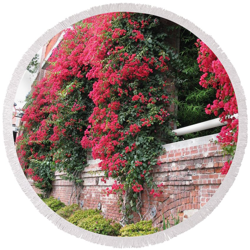 San Francisco Round Beach Towel featuring the photograph Bougainvillea Wall In San Francisco by Christiane Schulze Art And Photography