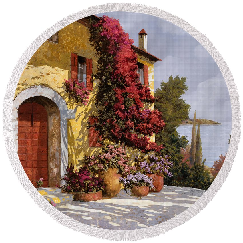 Bouganville Round Beach Towel featuring the painting Bouganville by Guido Borelli