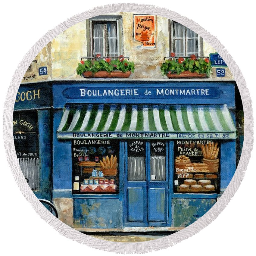 Europe Round Beach Towel featuring the painting Boulangerie de Montmartre by Marilyn Dunlap