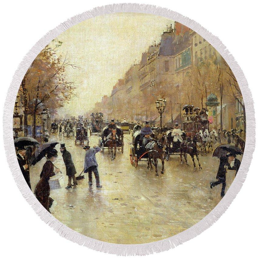 Umbrella Round Beach Towel featuring the photograph Boulevard Poissonniere In The Rain, C.1885 Oil On Canvas by Jean Beraud