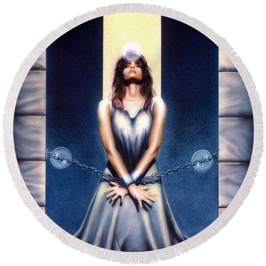 Woman Round Beach Towel featuring the painting Bound by Timothy Scoggins