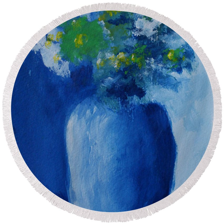 Floral Round Beach Towel featuring the painting Bouquet In Blue Shadow by Jill Ciccone Pike