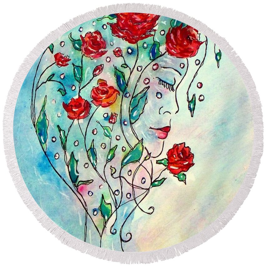 Bouquet Round Beach Towel featuring the painting Bouquet Of Love by Robin Monroe
