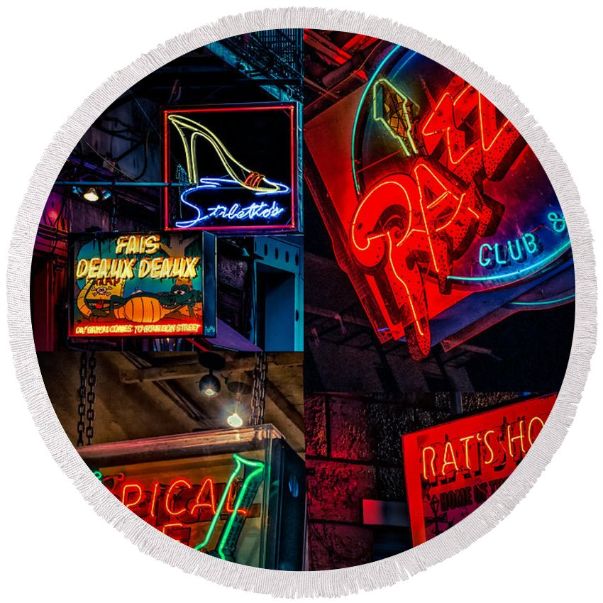 Signs Round Beach Towel featuring the photograph Bourbon St. Neon - Nola by Kathleen K Parker