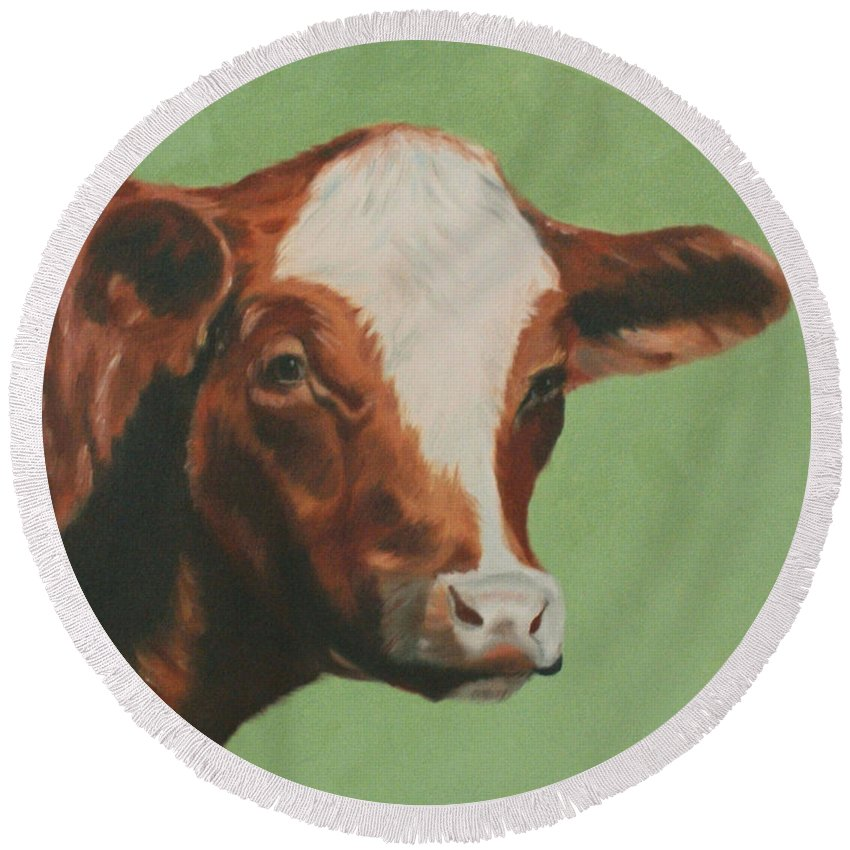 Cow Round Beach Towel featuring the painting Bovine Beauty by Jill Ciccone Pike