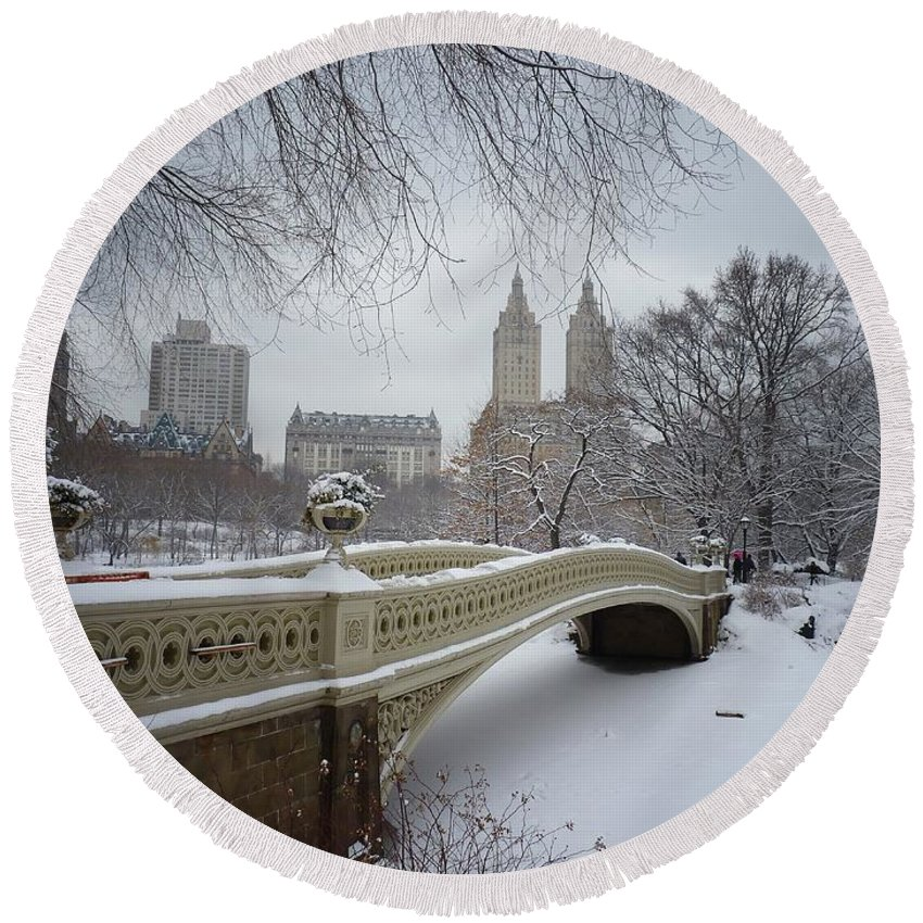Landscape Round Beach Towel featuring the photograph Bow Bridge Central Park in Winter by Vivienne Gucwa