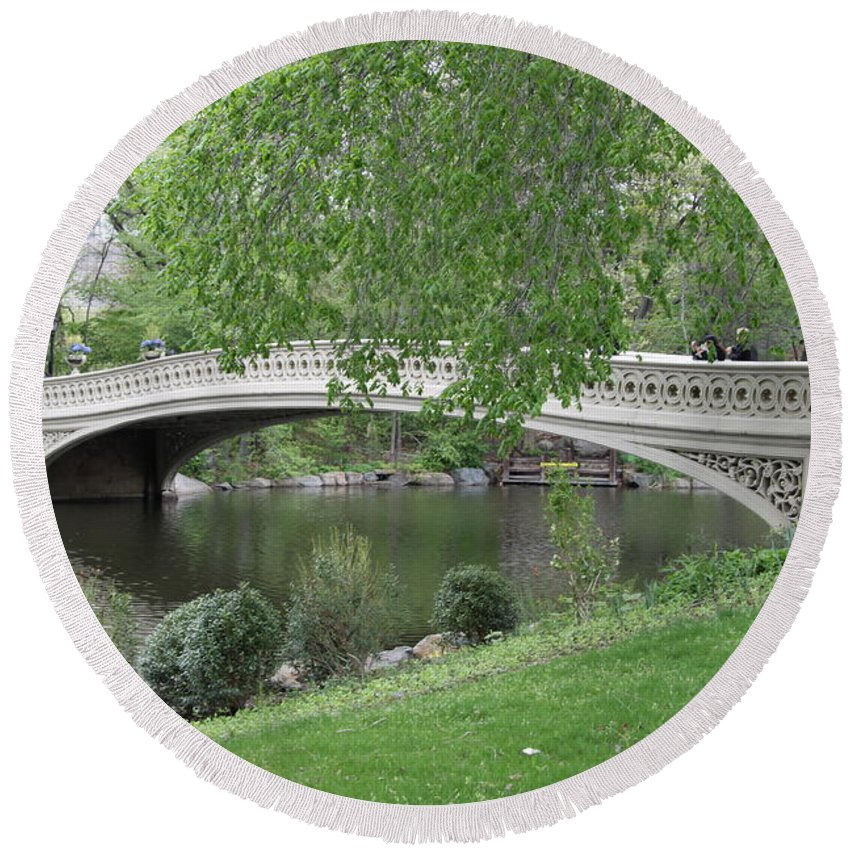 Bridge Round Beach Towel featuring the photograph Bow Bridge Central Park N Y C by Christiane Schulze Art And Photography