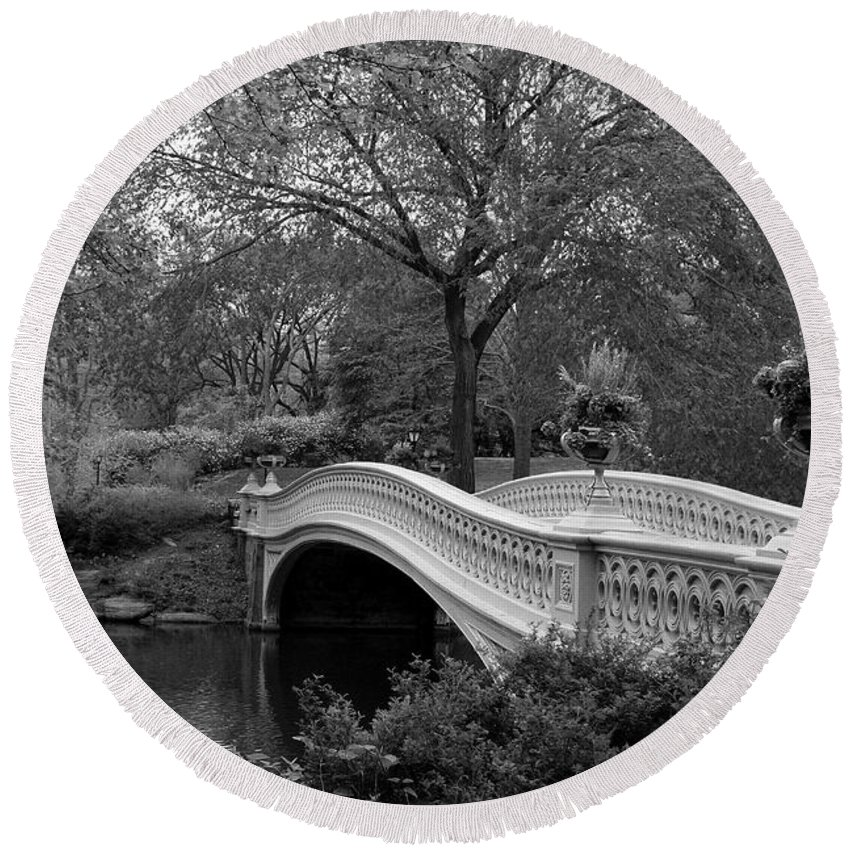 Bridge Round Beach Towel featuring the photograph Bow Bridge Nyc In Black And White by Christiane Schulze Art And Photography