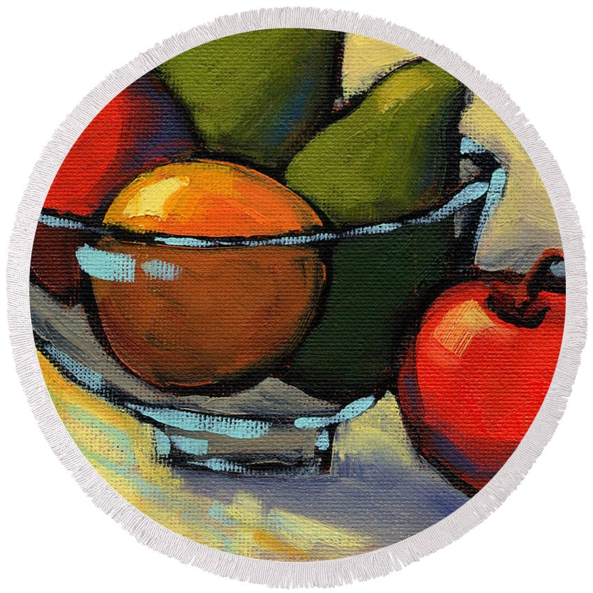 California Round Beach Towel featuring the painting Bowl Of Fruit 5 by Konnie Kim
