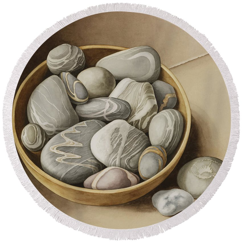 Still Life Round Beach Towel featuring the painting Bowl Of Pebbles by Jenny Barron