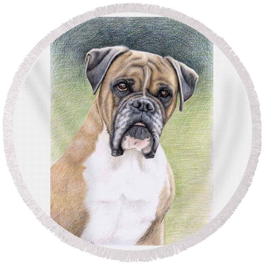 Dog Round Beach Towel featuring the drawing Boxer Portrait by Nicole Zeug