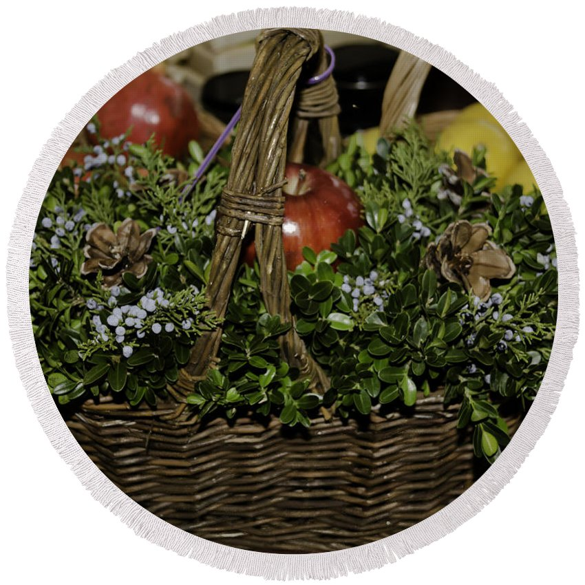 2013 Round Beach Towel featuring the photograph Boxwood Basket by Teresa Mucha