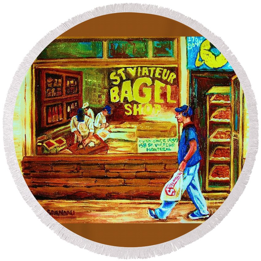 St.viateur Bagel Round Beach Towel featuring the painting Boy With The Steinbergs Bag by Carole Spandau