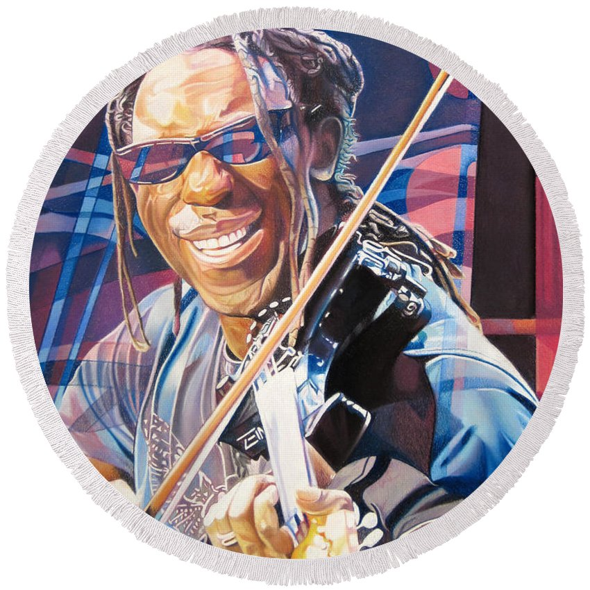 Boyd Tinsley Round Beach Towel featuring the drawing Boyd Tinsley And 2007 Lights by Joshua Morton