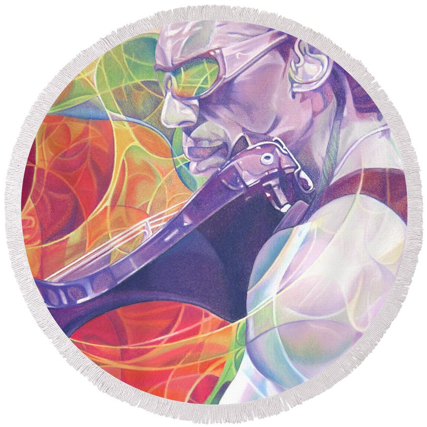 Boyd Tinsley Round Beach Towel featuring the drawing Boyd Tinsley And Circles by Joshua Morton