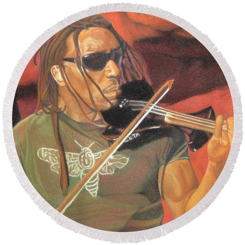Boyd Tinsley Round Beach Towel featuring the drawing Boyd Tinsley At Red Rocks by Joshua Morton