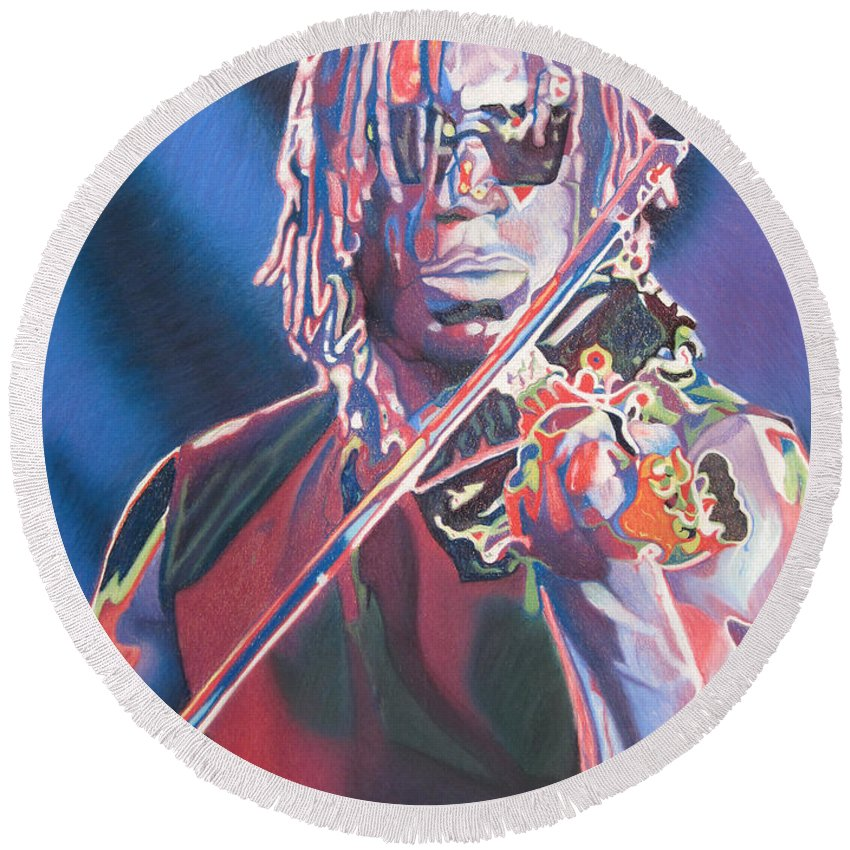 Boyd Tinsley Round Beach Towel featuring the drawing Boyd Tinsley Colorful Full Band Series by Joshua Morton