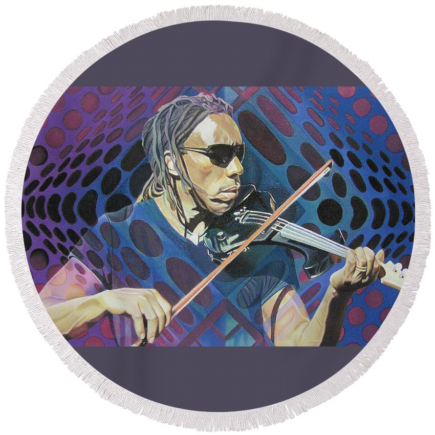 Boyd Tinsley Round Beach Towel featuring the drawing Boyd Tinsley Pop-op Series by Joshua Morton