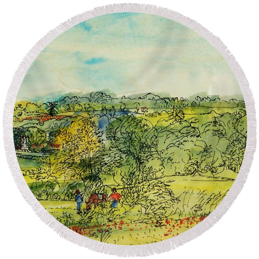 Boy Round Beach Towel featuring the photograph Boys With A Horse, 1986 Pen & Ink With Wc On Paper by Brenda Brin Booker