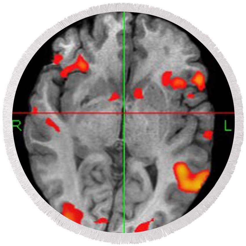 Fmri Round Beach Towel featuring the photograph Brain Activity During Language Task, 2 by Living Art Enterprises