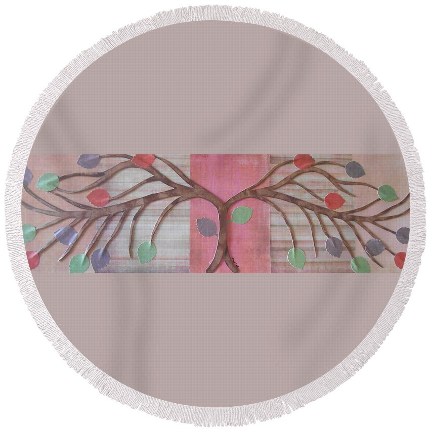 Branch Round Beach Towel featuring the mixed media Branch by Teresa Wenger