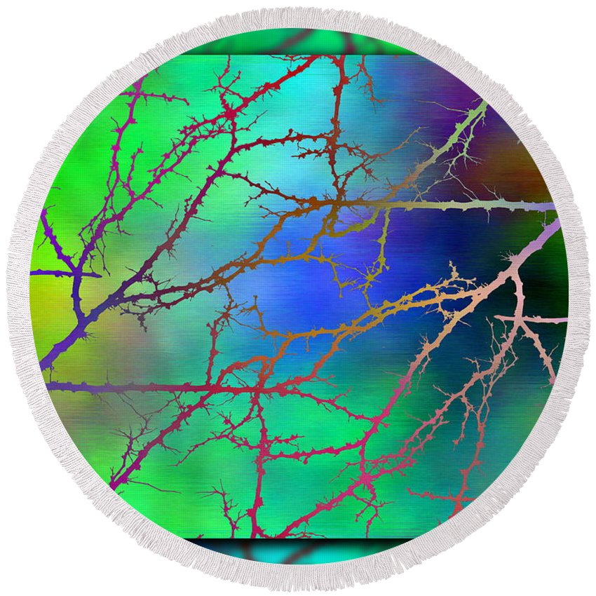Abstract Round Beach Towel featuring the digital art Branches In The Mist 6 by Tim Allen