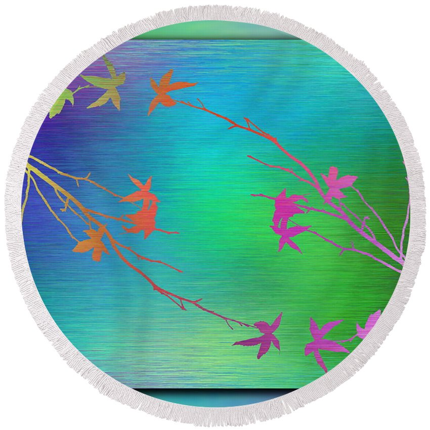 Abstract Round Beach Towel featuring the digital art Branches In The Mist 64 by Tim Allen