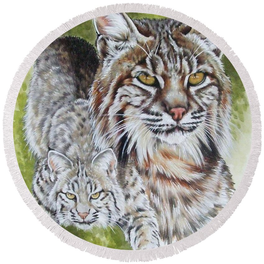 Small Cat Round Beach Towel featuring the mixed media Brassy by Barbara Keith