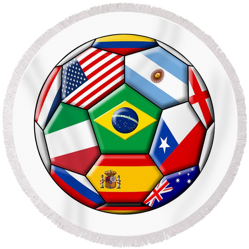 2014 Round Beach Towel featuring the digital art Brazil 2014 - Soccer With Various Flags by Michal Boubin