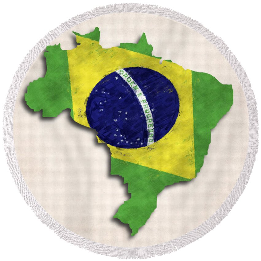 Brazil Round Beach Towel featuring the digital art Brazil Map Art With Flag Design by World Art Prints And Designs