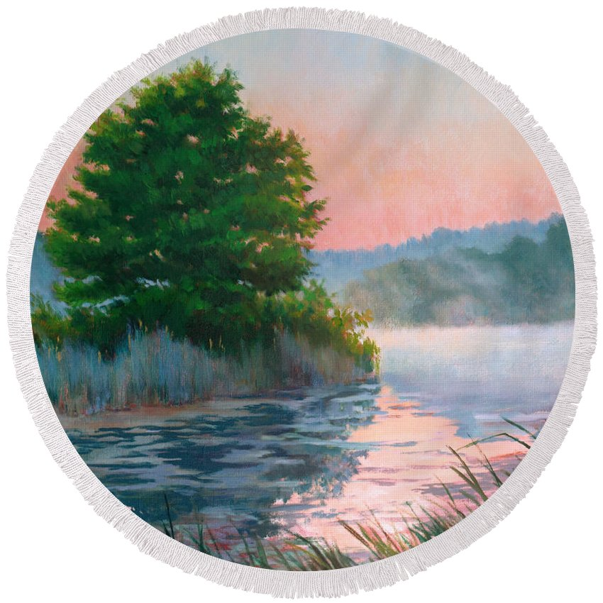 Impressionism Round Beach Towel featuring the painting Break Of Day by Keith Burgess