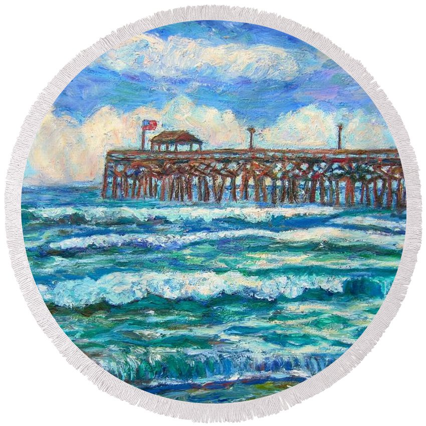 Shore Scenes Round Beach Towel featuring the painting Breakers At Pawleys Island by Kendall Kessler