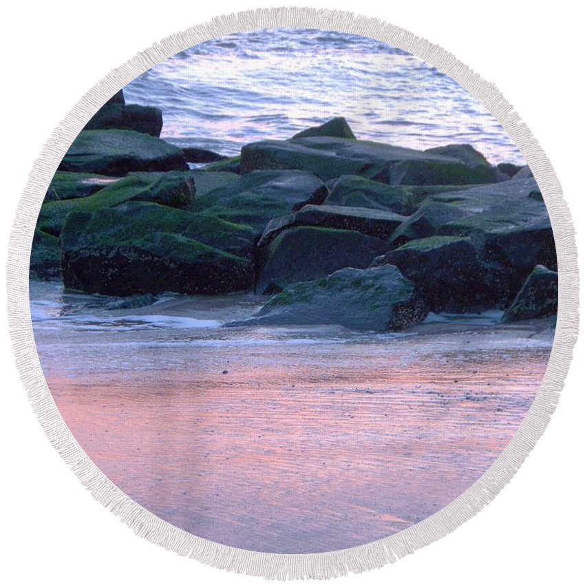 Breakwater Round Beach Towel featuring the photograph Breakwater Rocks At Sunset Beach Cape May by Eric Schiabor