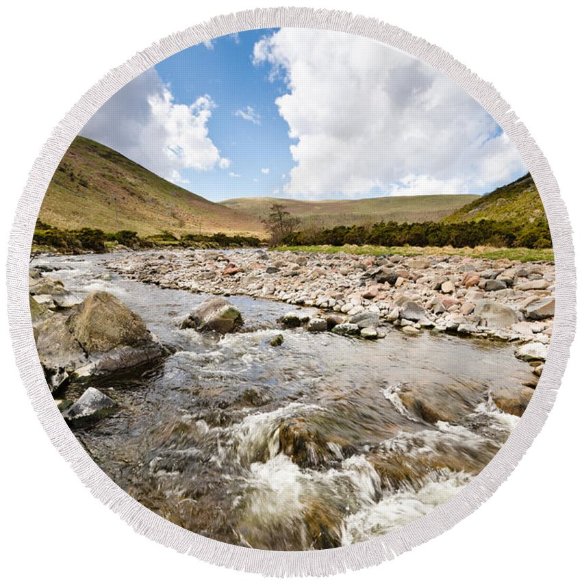 Northumberland Round Beach Towel featuring the photograph Breamish Valley  by David Head