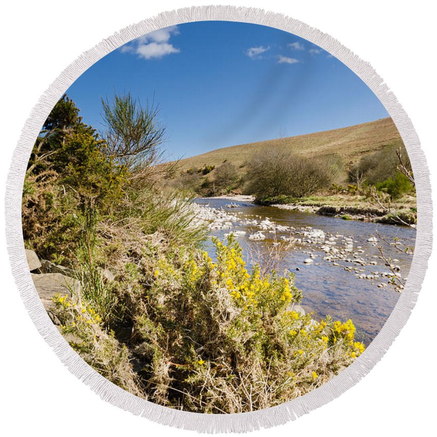 Northumberland Round Beach Towel featuring the photograph Breamish Valley In Spring by David Head