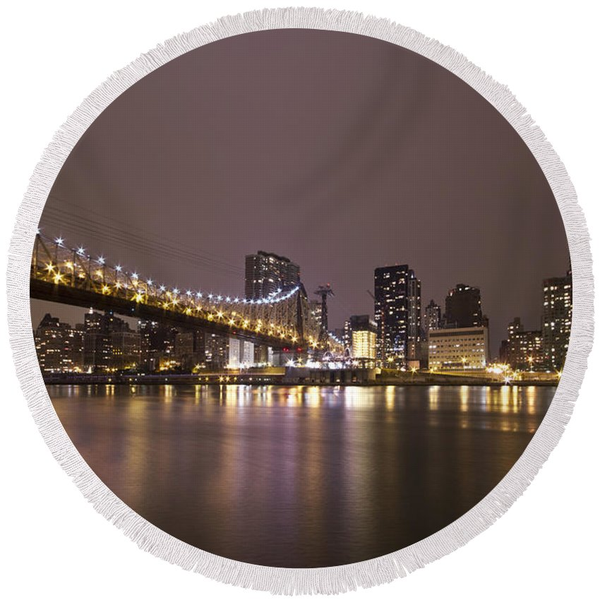 Queensboro Round Beach Towel featuring the photograph Breathing The Night Away by Evelina Kremsdorf