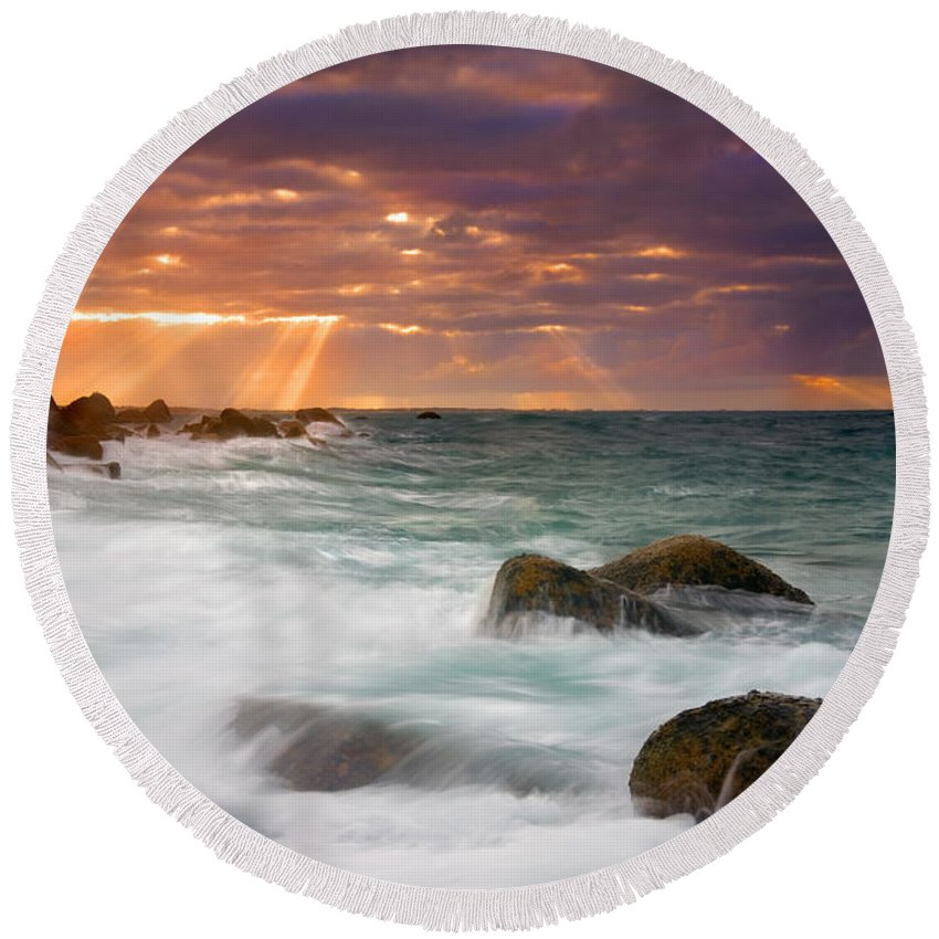 Dawn Round Beach Towel featuring the photograph Breathtaking by Mike Dawson