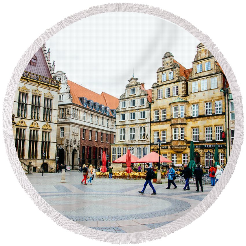 Germany Round Beach Towel featuring the photograph Bremen Main Square by Pati Photography
