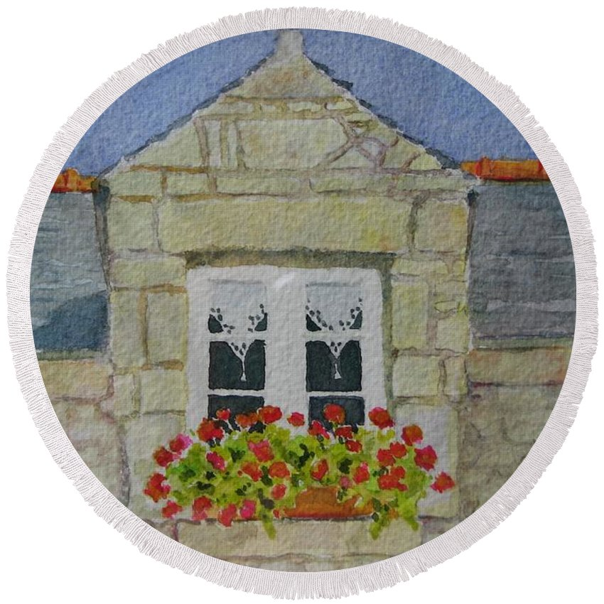 France Round Beach Towel featuring the painting Bretagne Window by Mary Ellen Mueller Legault