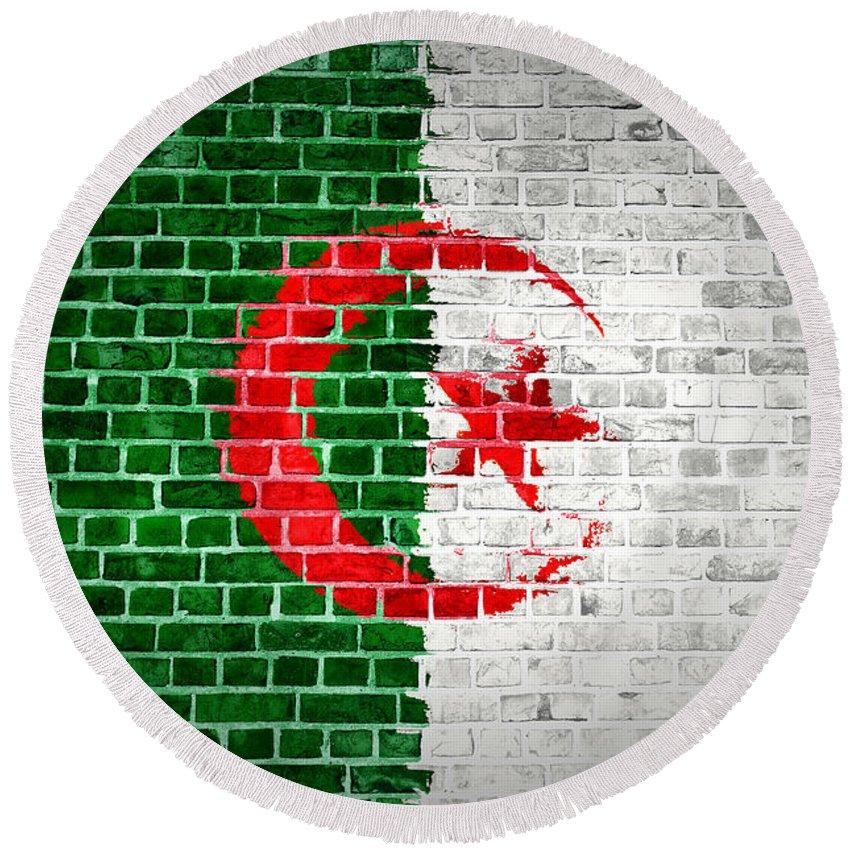 Algeria Round Beach Towel featuring the digital art Brick Wall Algeria by Antony McAulay