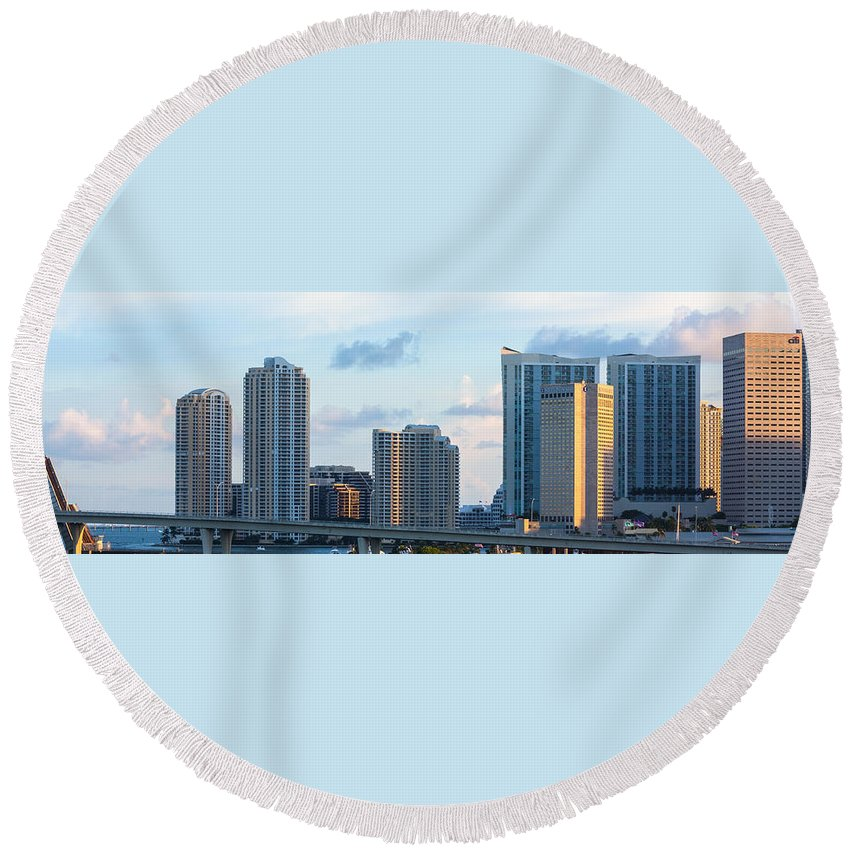 Architecture Round Beach Towel featuring the photograph Brickell Key And Miami Skyline by Ed Gleichman