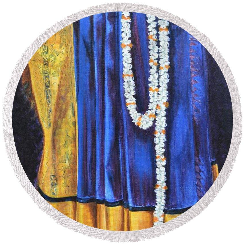 Bridal Round Beach Towel featuring the painting Bridal Wear by Usha Shantharam