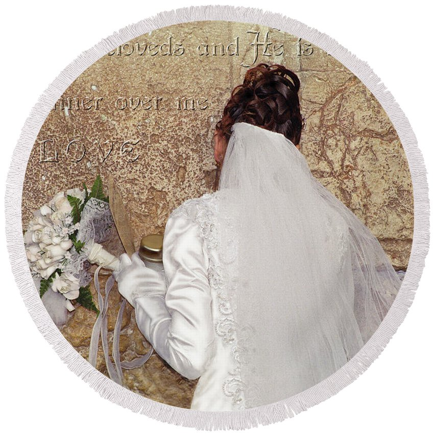 Bride Round Beach Towel featuring the digital art Bride At The Wall by Constance Woods