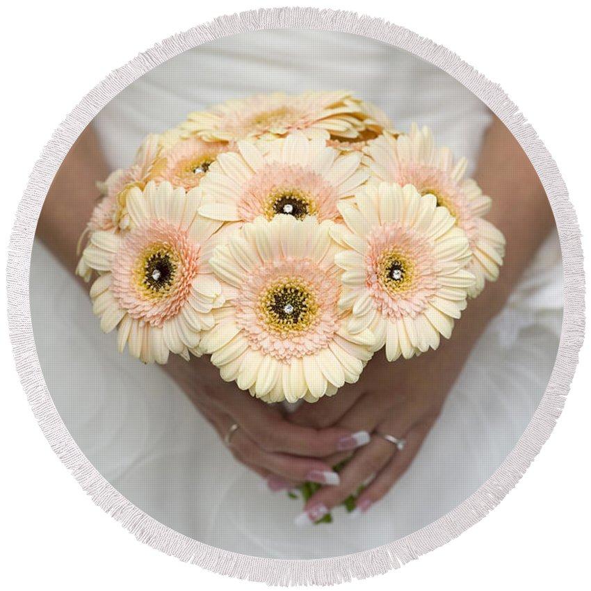 Gerbera Round Beach Towel featuring the photograph Bride Holding Gerbera Bouquet by Lee Avison