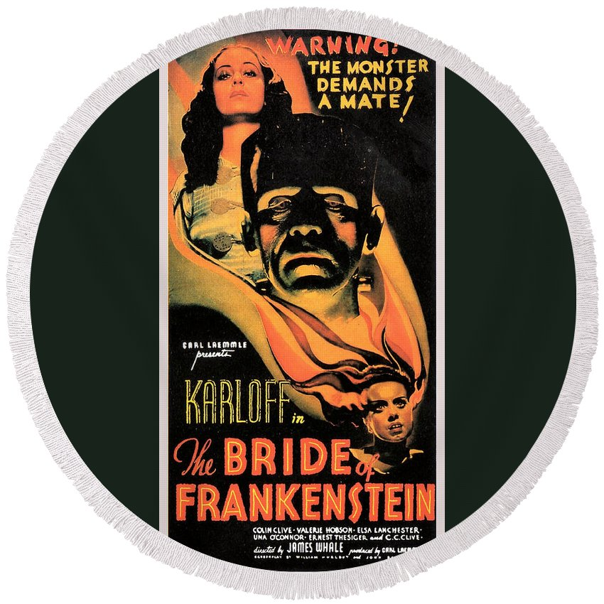 Bride Of Frankenstein Round Beach Towel featuring the digital art Bride Of Frankenstein by Studio Release