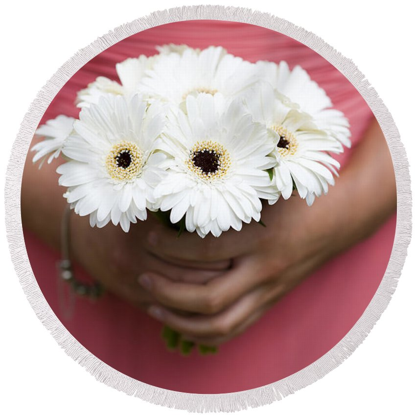 Gerbera Round Beach Towel featuring the photograph Bridesmaid Holding A Bouquet Of Berbera by Lee Avison