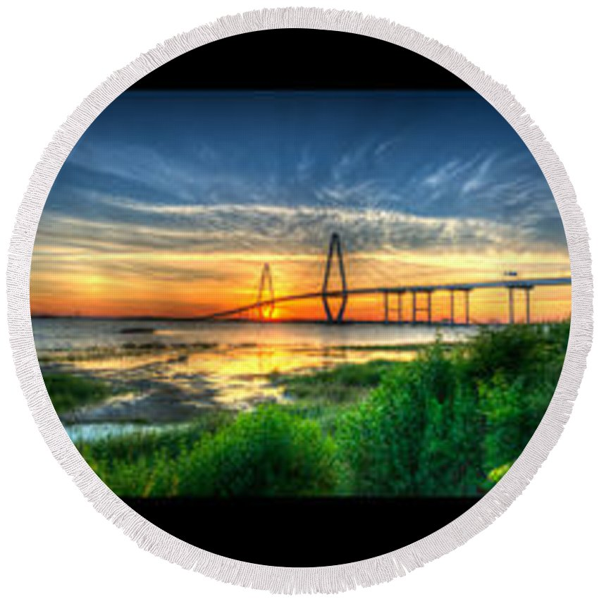 � Dale Powell Photography Round Beach Towel featuring the photograph Bridge 3 by Dale Powell